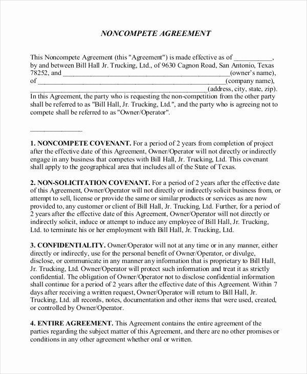 Non Compete Agreement Template Free Beautiful 10 Restaurant Non Pete Agreement Templates Pdf Word Docs