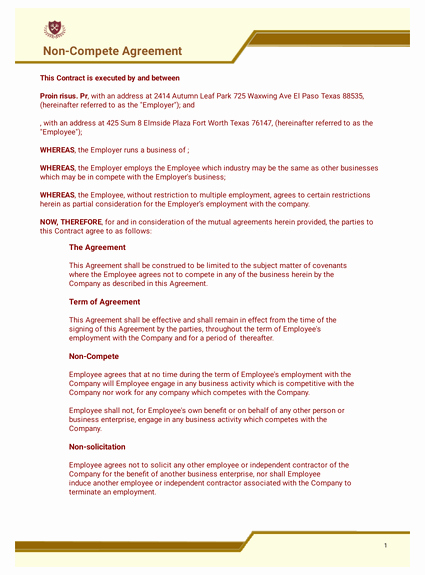 Non Compete Agreement Template Free Best Of Free Non Pete Agreement Template Pdf Templates