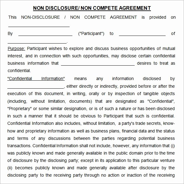 Non Compete Agreement Template Free Elegant Free 13 Sample Non Pete Agreement Templates In Google Docs Ms Word Pages
