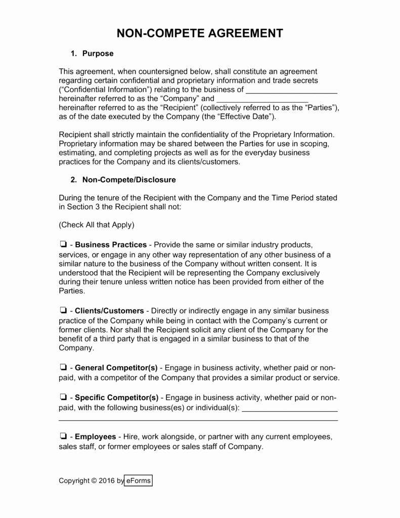 Non Compete Agreement Template Free Fresh Non Pete Agreement New York Template
