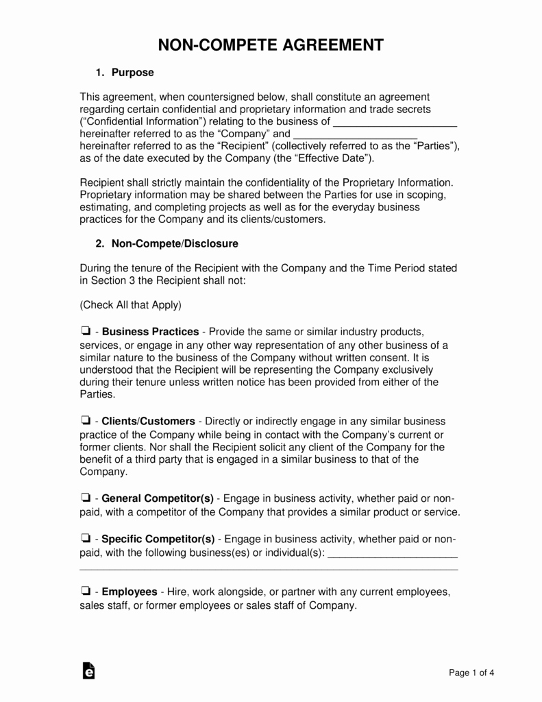 Non Compete Agreement Template Free Lovely Non Pete Agreement Templates