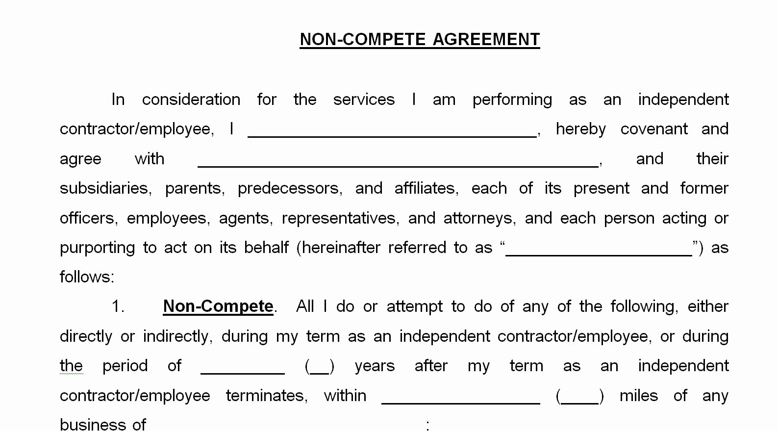 "Non Compete Agreement Template Free Luxury Eliminating ""non Pete"" Agreements"
