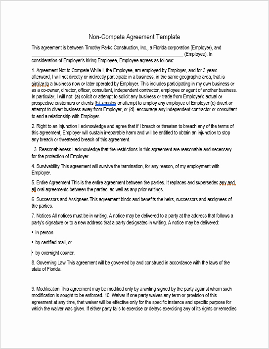 Non Compete Agreement Template Fresh 37 Free Non Pete Agreement Templates Ms Word