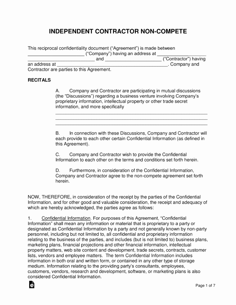 Non Compete Agreement Template Fresh Independent Contractor Non Pete Agreement Template