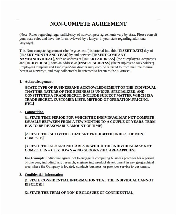 Non Compete Agreement Template Inspirational Confidentiality Agreement Template 16 Free Pdf Word