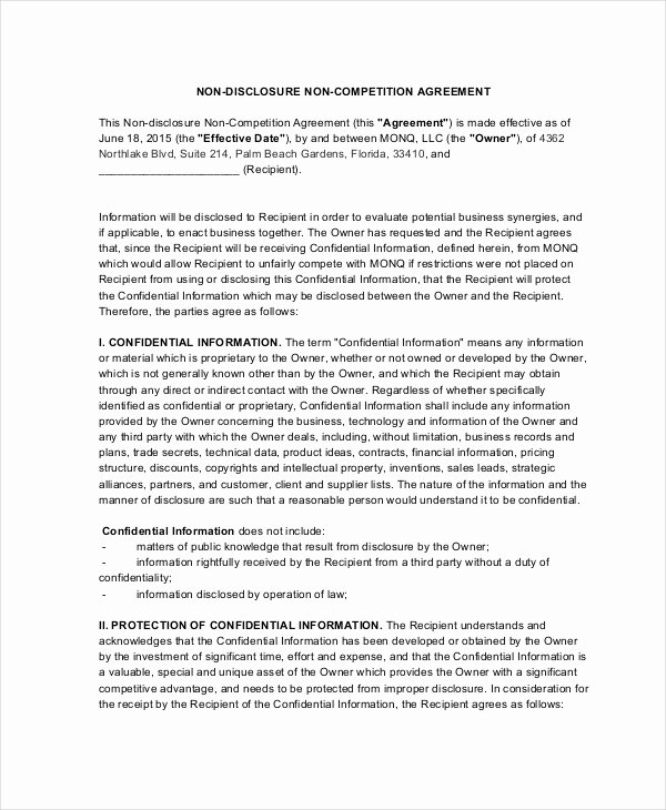 Non Compete Agreement Template Luxury 15 Non Pete Agreements Free Word Pdf format