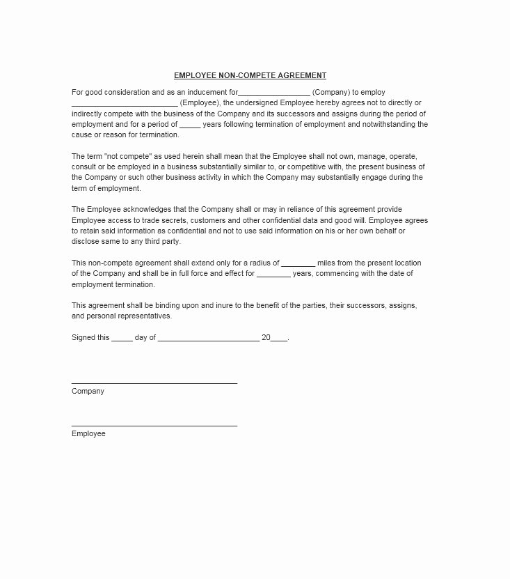 Non Compete Agreement Template Luxury 39 Ready to Use Non Pete Agreement Templates Free