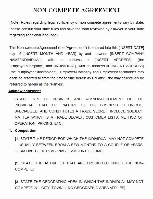 Non Compete Agreement Template Luxury Free 13 Sample Non Pete Agreement Templates In Google