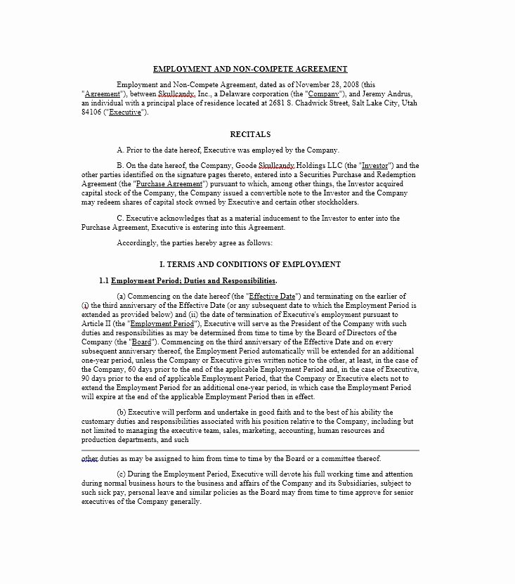 Non Compete Agreement Template New 39 Ready to Use Non Pete Agreement Templates Template Lab