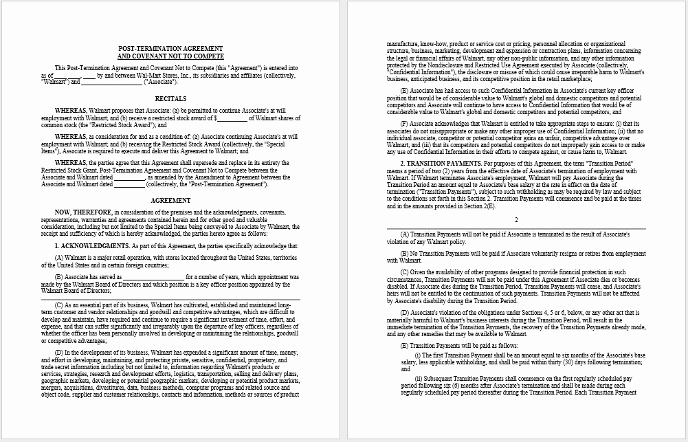 Non Compete Agreement Template Word Awesome 37 Free Non Pete Agreement Templates Ms Word