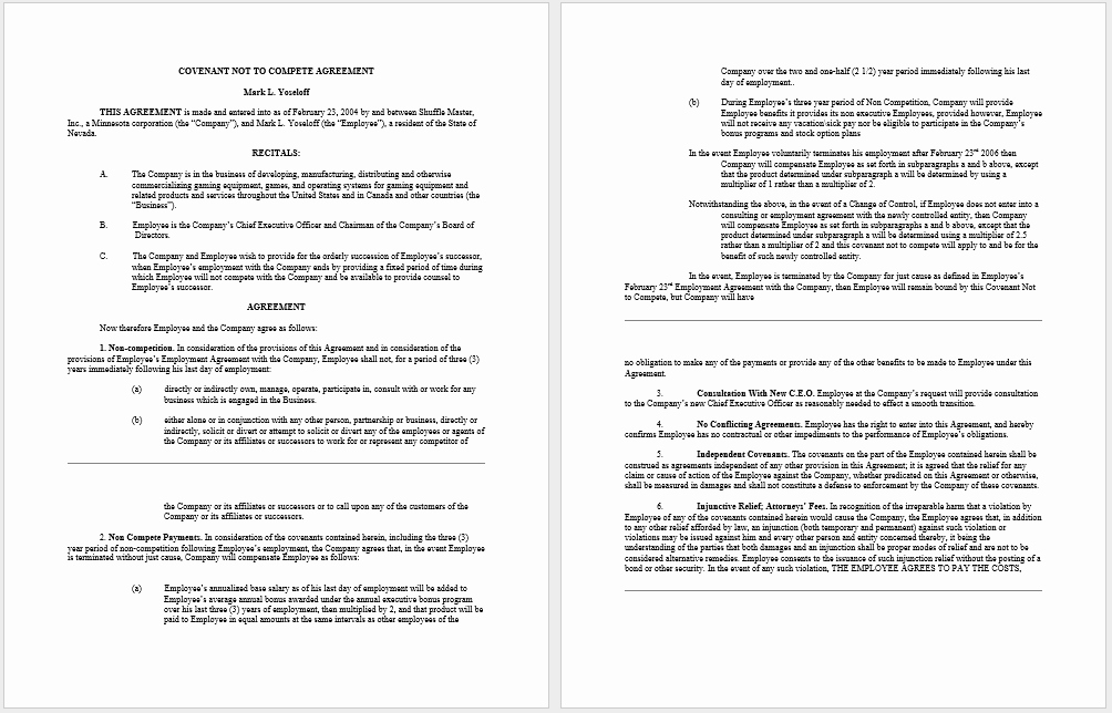 Non Compete Agreement Template Word Best Of 37 Free Non Pete Agreement Templates Ms Word