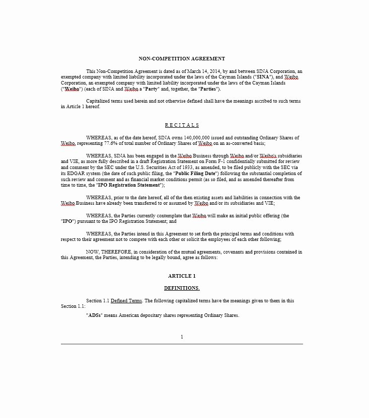 Non Compete Agreement Template Word Best Of 39 Ready to Use Non Pete Agreement Templates Template Lab