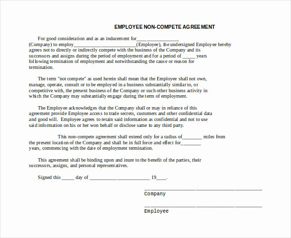 Non Compete Agreement Template Word Elegant 10 Word Non Pete Agreement Templates Free Download