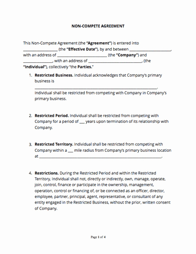 Non Compete Agreement Template Word Elegant Contract Templates and Agreements with Free Samples Docsketch