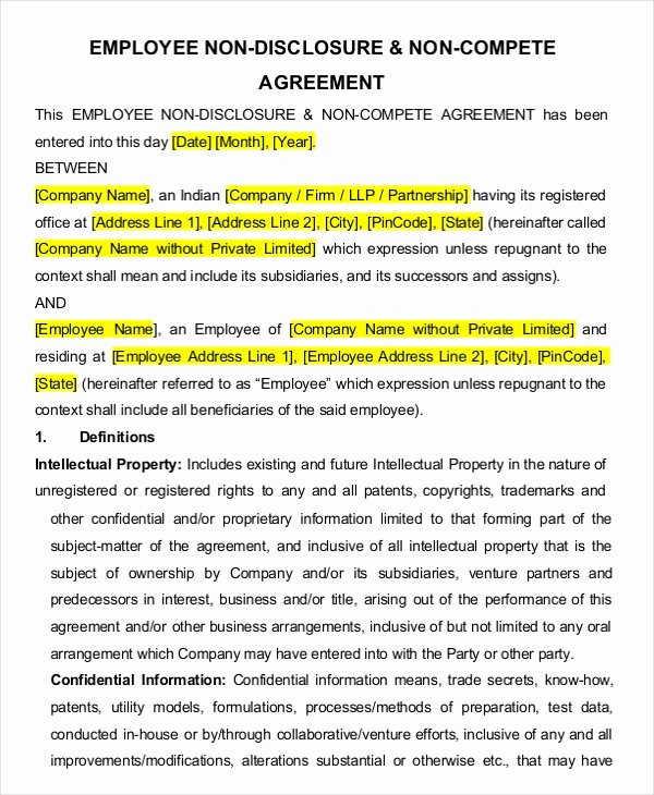 Non Compete Agreement Template Word Elegant Employee Non Pete Agreement – 10 Free Word Pdf Documents Download