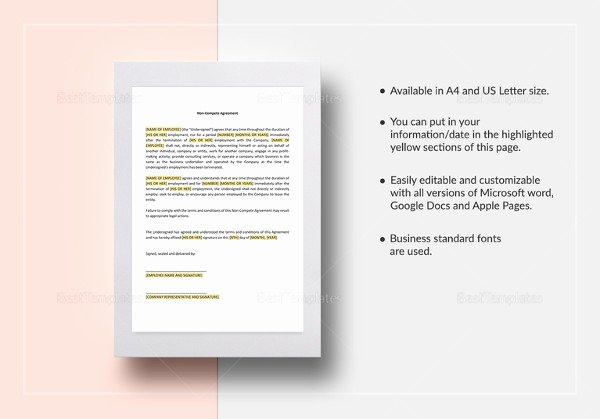 Non Compete Agreement Template Word Elegant Vendor Non Pete Agreement Template 11 Free Word Pdf Documents Download