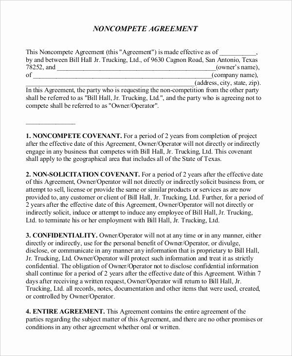 Non Compete Agreement Template Word Lovely 13 General Non Pete Agreement Templates Free Word Pdf format