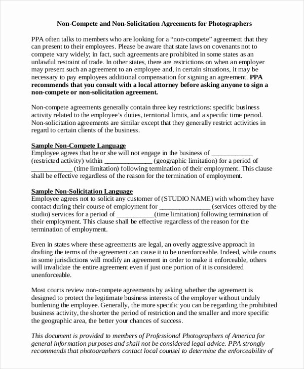 Non Compete Agreement Template Word Unique Standard Non Pete Agreement 11 Free Word Pdf Documents Download