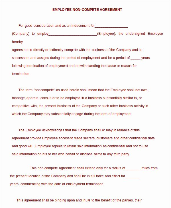 Non Compete Agreement Texas Template Best Of Non Pete Agreement Template 12 Free Word Pdf format