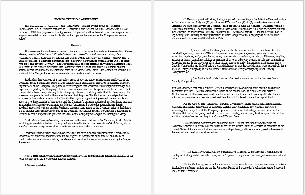 Non Compete Agreement Texas Template Fresh 37 Free Non Pete Agreement Templates Ms Word