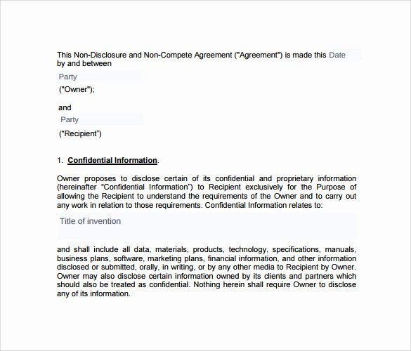 Non Compete Agreement Texas Template Fresh Sample Non Pete Agreement – 13 Documents In Pdf Word