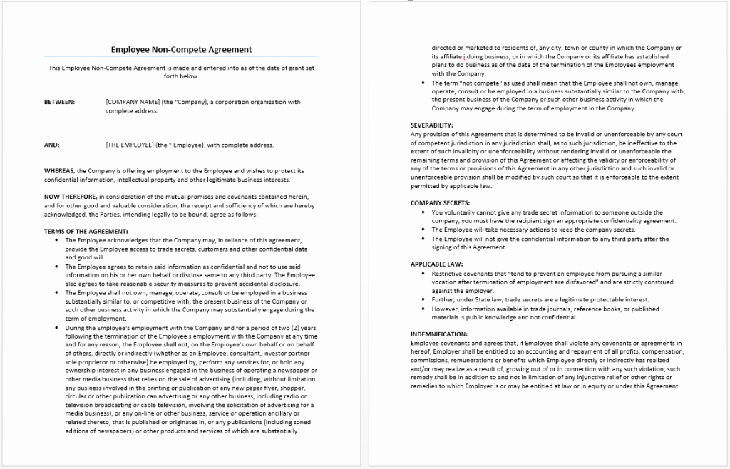 Non Compete Agreement Texas Template Luxury Employee Non Pete Agreement Template Word Templates