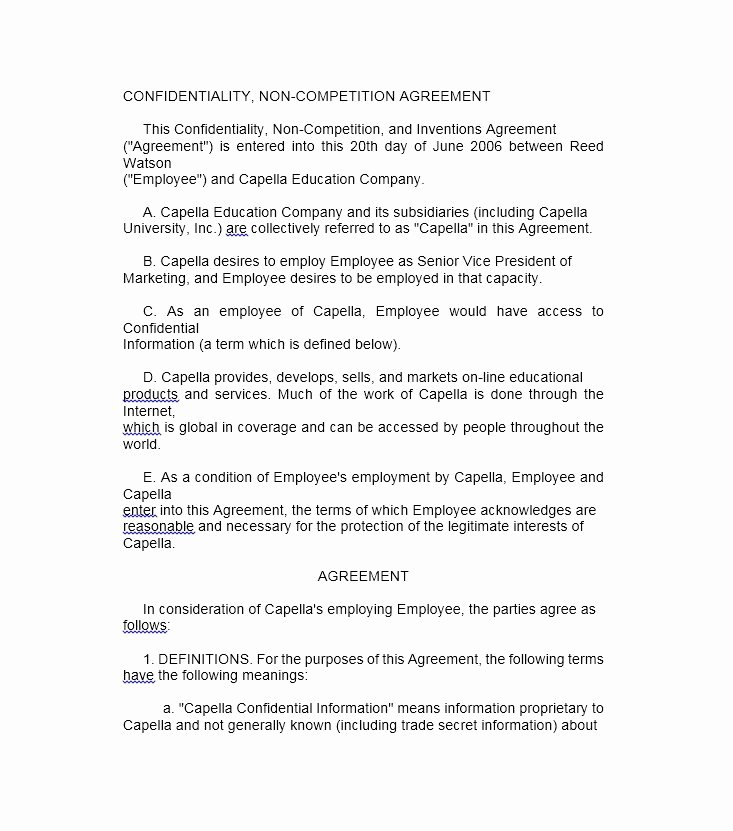 Non Compete Agreement Texas Template New 39 Ready to Use Non Pete Agreement Templates Free Template Downloads