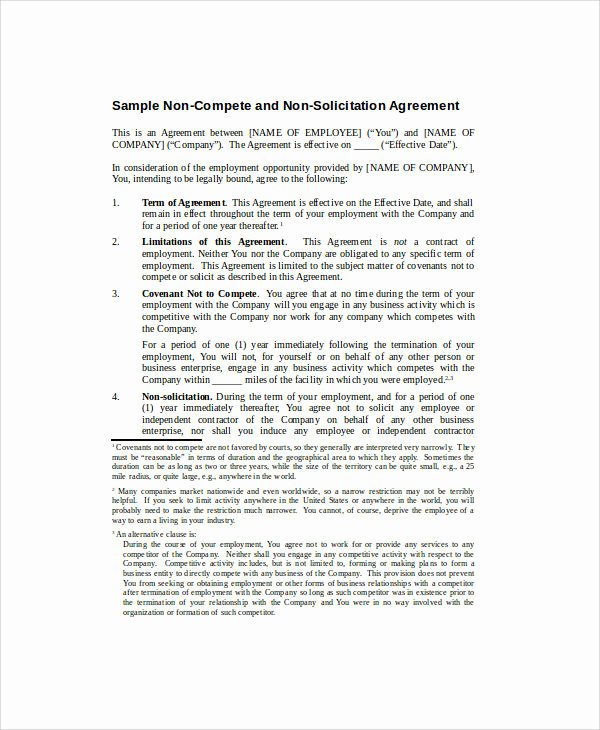 Non Compete Agreement Texas Template Unique 38 Basic Agreement Samples