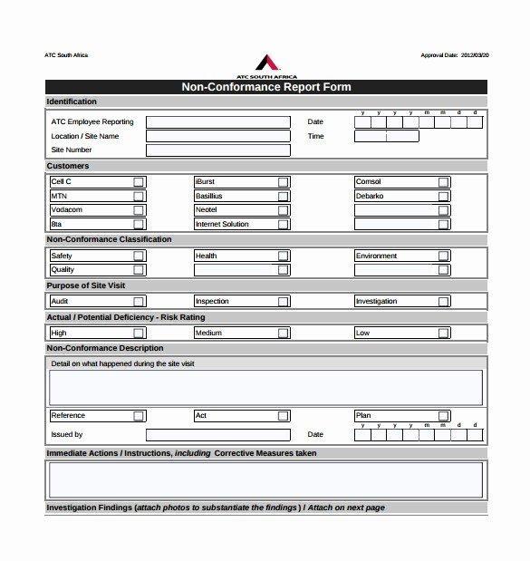 Non Conformance Report Template Awesome 17 Non Conformance Report Templates Pdf Docs Word Pages