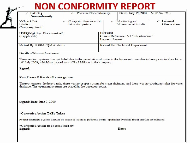 Non Conformance Report Template Awesome total Quality Management