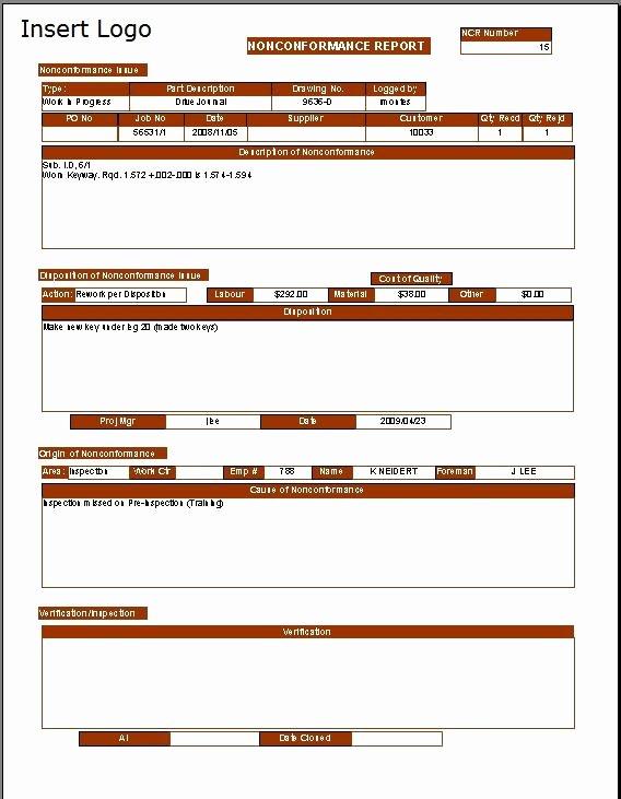 Non Conformance Report Template Elegant Non Conformance Report