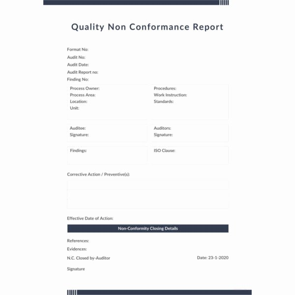 Non Conforming Material Report Fresh 17 Non Conformance Report Templates Pdf Doc