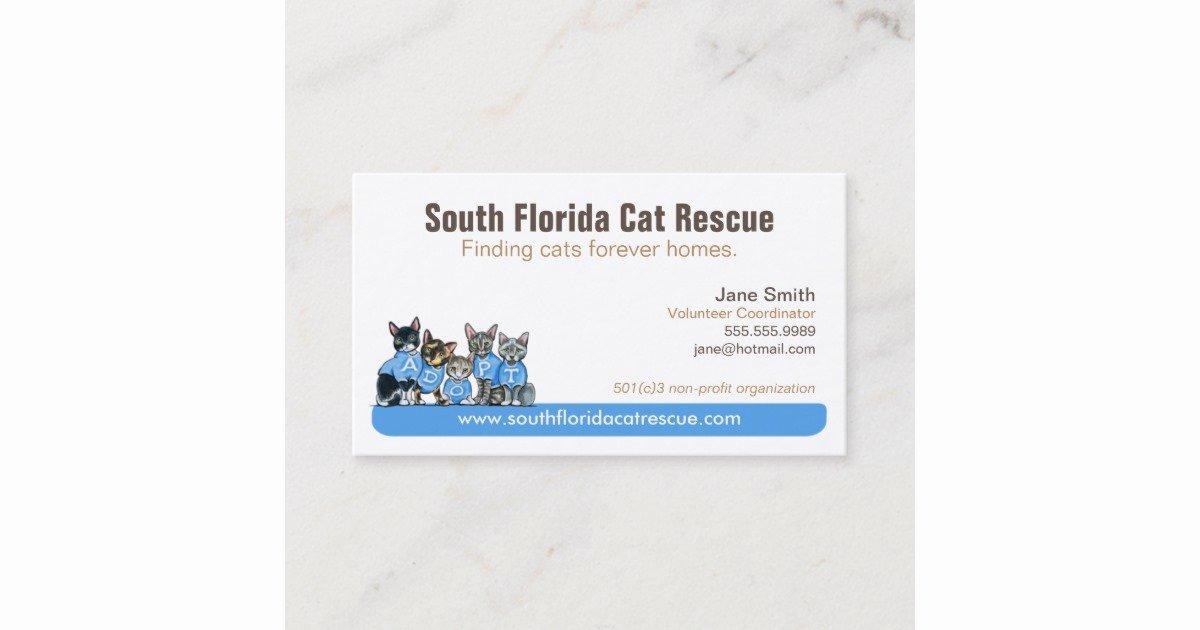 Non Profit Business Cards Beautiful Cat Rescue Non Profit Blue Tagline Business Card