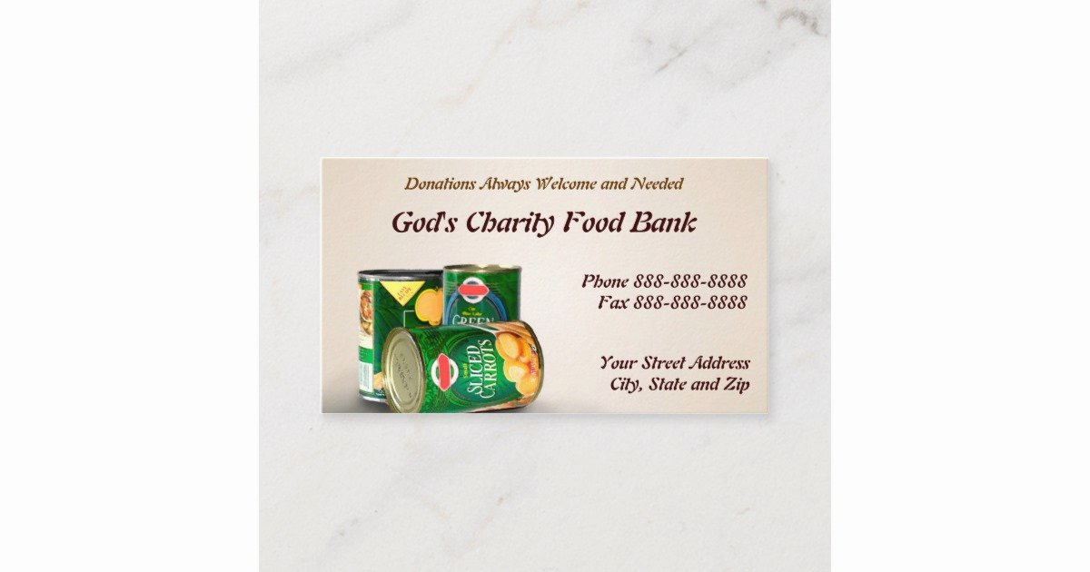 Non Profit Business Cards Elegant Charity Food Bank Non Profit Business Card