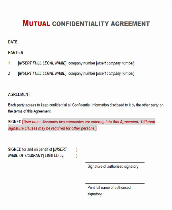 Non Profit Confidentiality Agreement Awesome Agreement form Examples