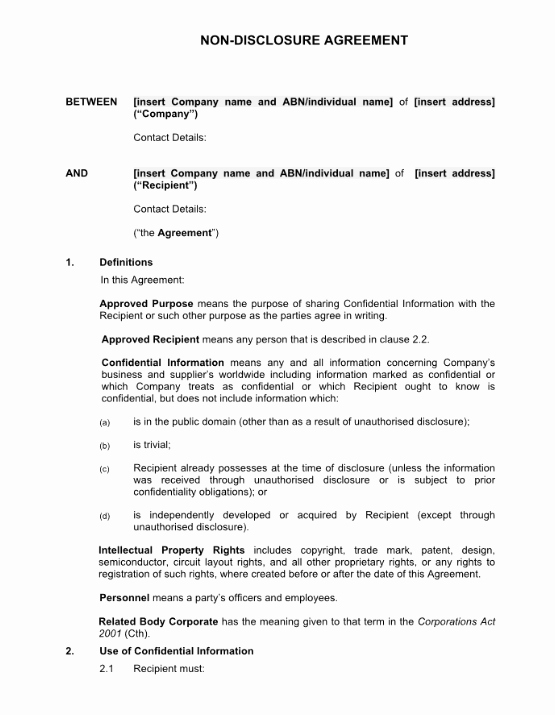 Non Profit Confidentiality Agreement Beautiful Non Disclosure Agreement Template