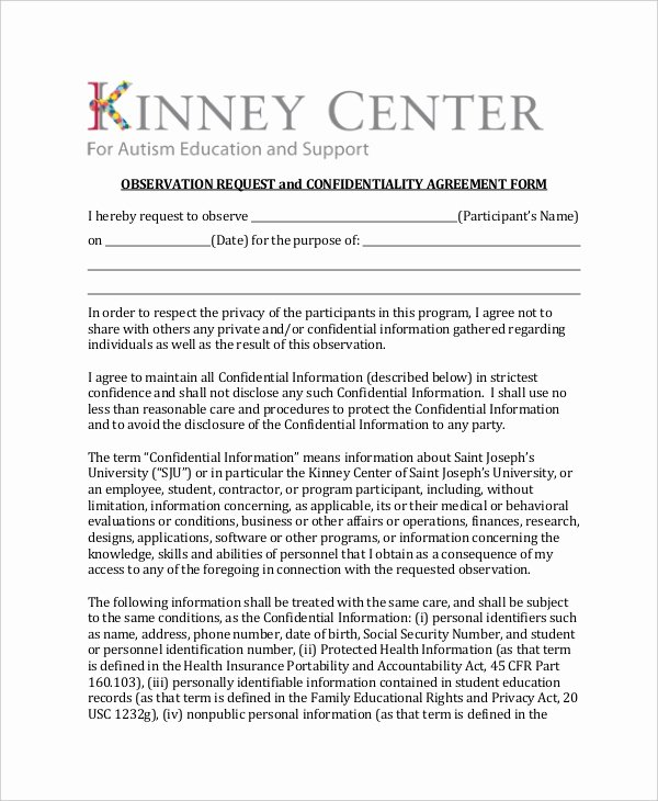 Non Profit Confidentiality Agreement Inspirational 8 Confidentiality Agreement form Templates – Free Sample Example format Download