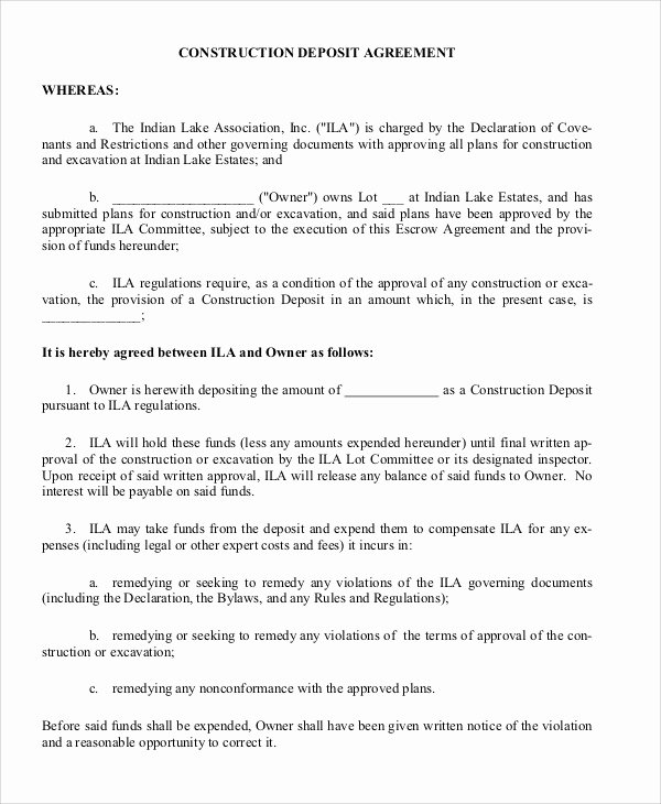 Non Refundable Deposit Agreement Template Awesome Deposit Agreement Template 20 Free Word Pdf format Download