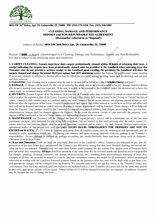 Non Refundable Deposit Agreement Template Beautiful Deposit and Non Refundable Fee Agreement Sample Page 2 Of 4 In Pdf