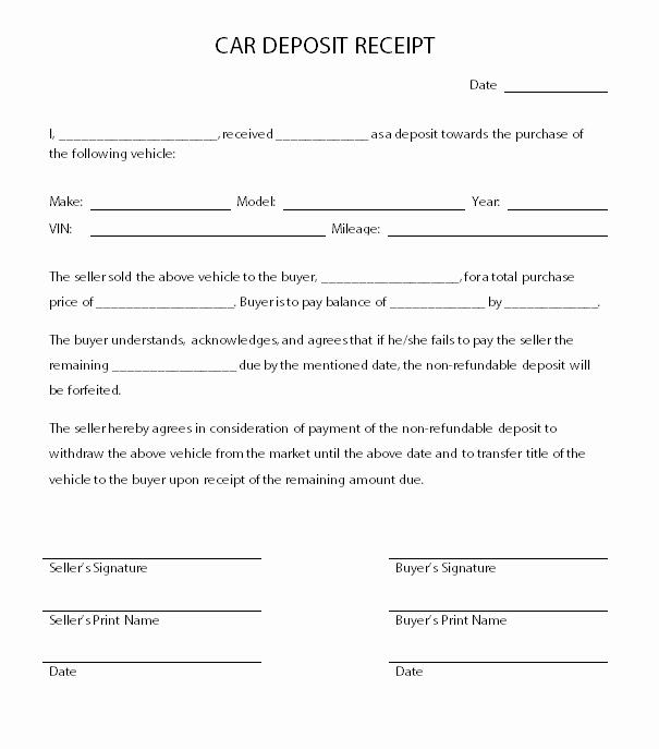 Non Refundable Deposit Agreement Template Elegant Car Deposit Receipt Template