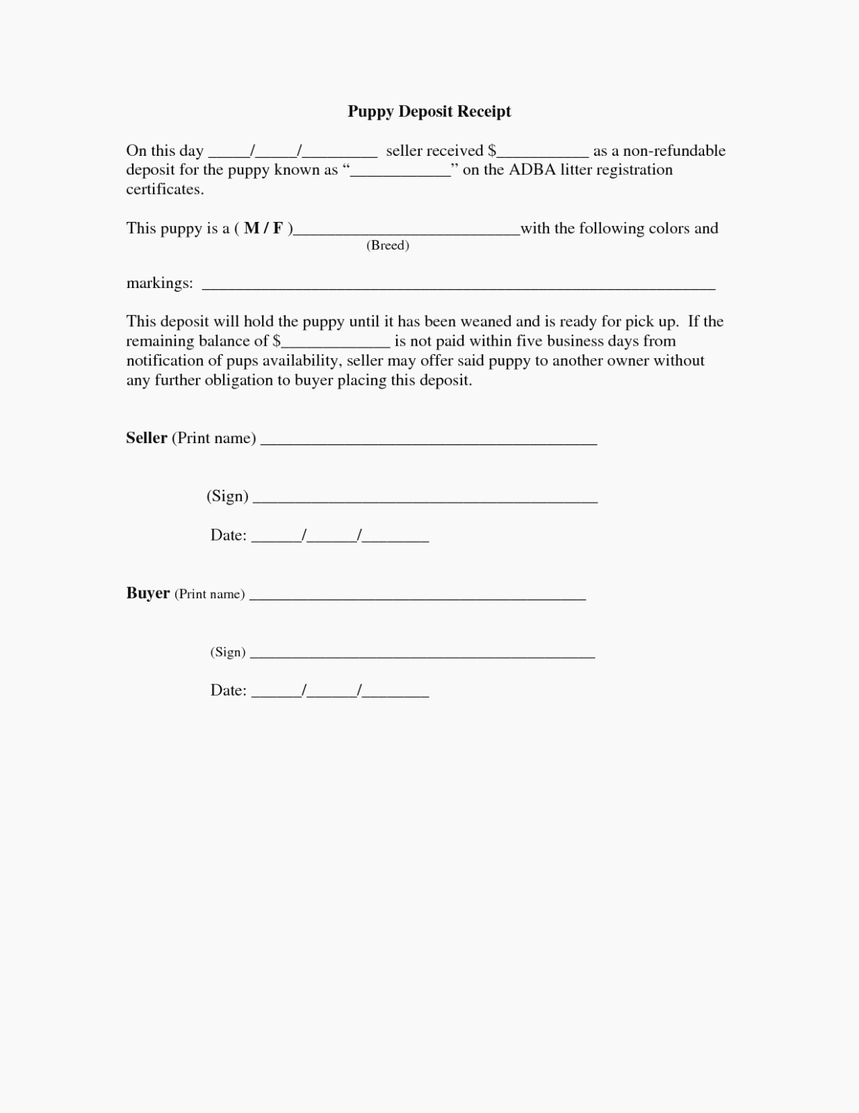 Non Refundable Deposit Agreement Template Fresh is Puppy Sales Receipt