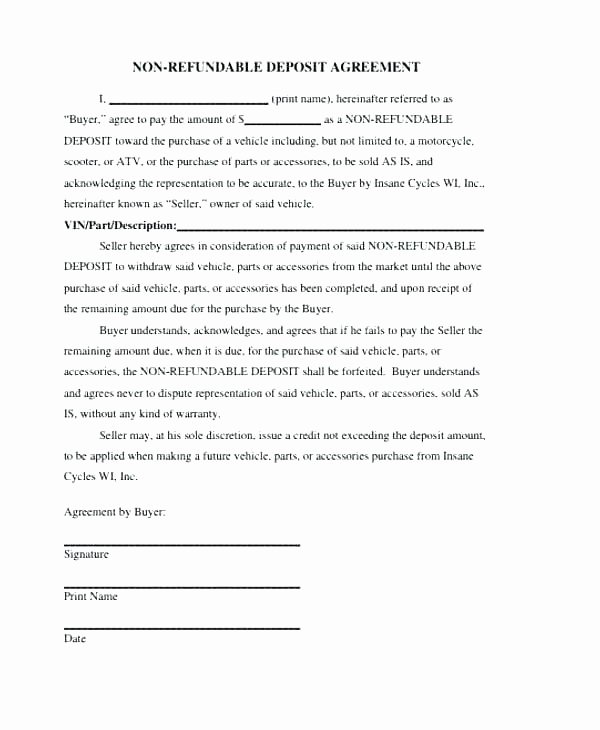 Non Refundable Deposit Agreement Template Inspirational Rental Deposit Agreement Template