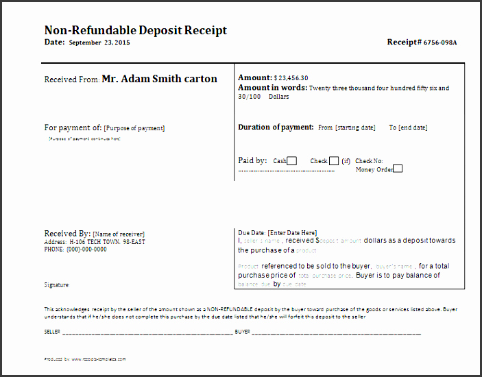 Non Refundable Deposit Agreement Template Lovely 10 Cash Receipt Template for Services Sampletemplatess Sampletemplatess