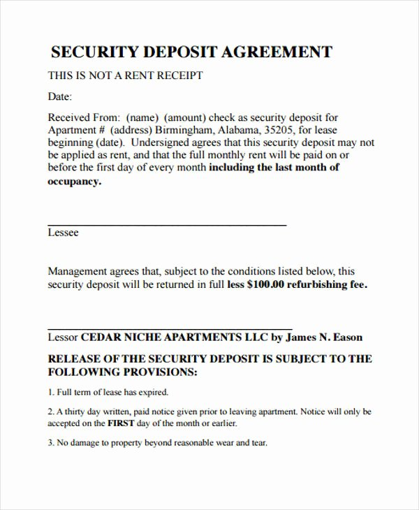 Non Refundable Deposit Agreement Template Lovely 39 Agreement Templates In Pdf