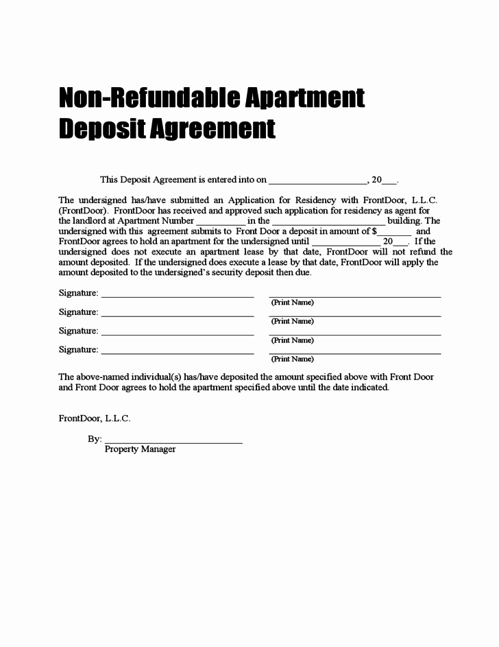 Non Refundable Deposit Agreement Template Lovely Non Refundable Deposit Agreement Free Download