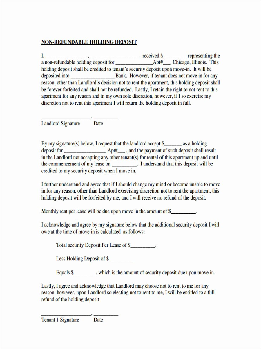 Non Refundable Deposit Agreement Template Unique Free 6 Rental Deposit forms In Samples Examples formats