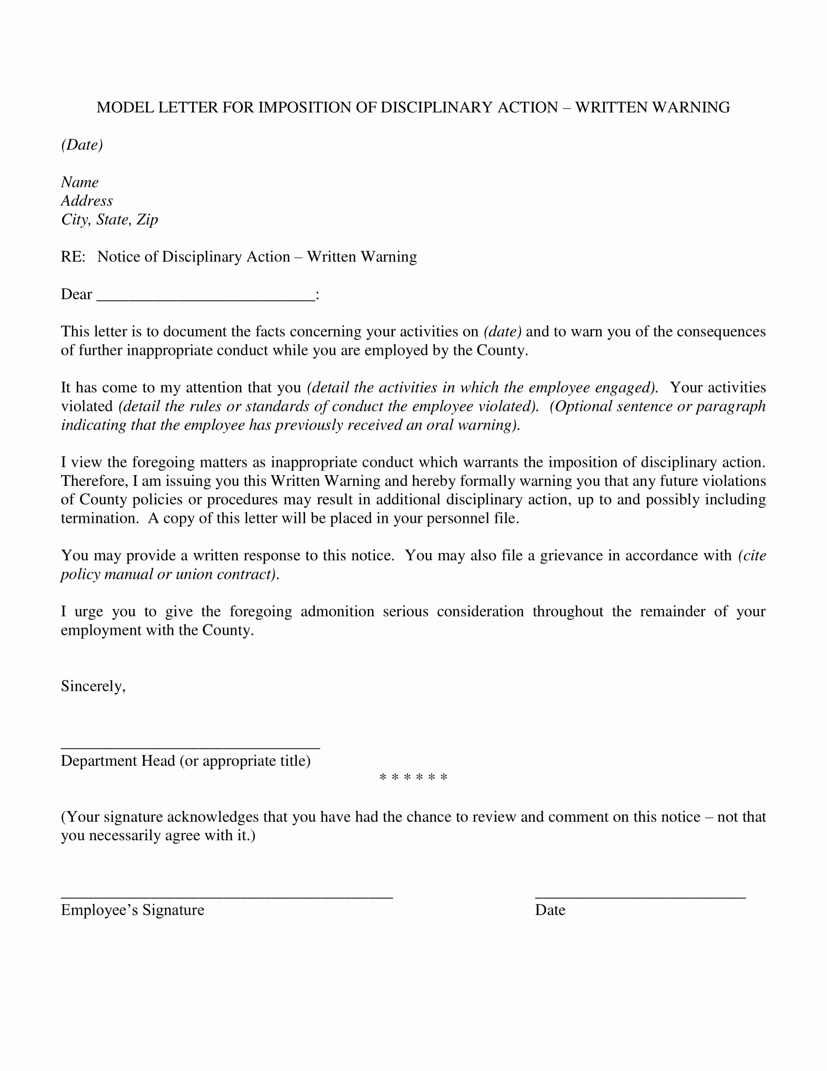 Notice Of Disciplinary Action Best Of 9 Disciplinary Action form Examples Pdf Word