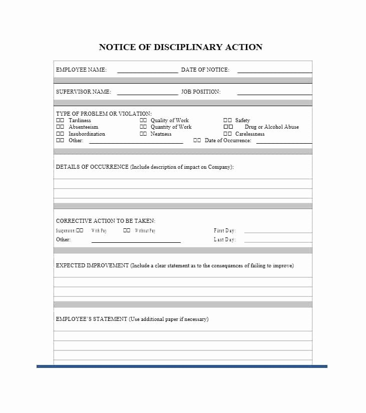 Notice Of Disciplinary Action Elegant 40 Employee Disciplinary Action forms Template Lab