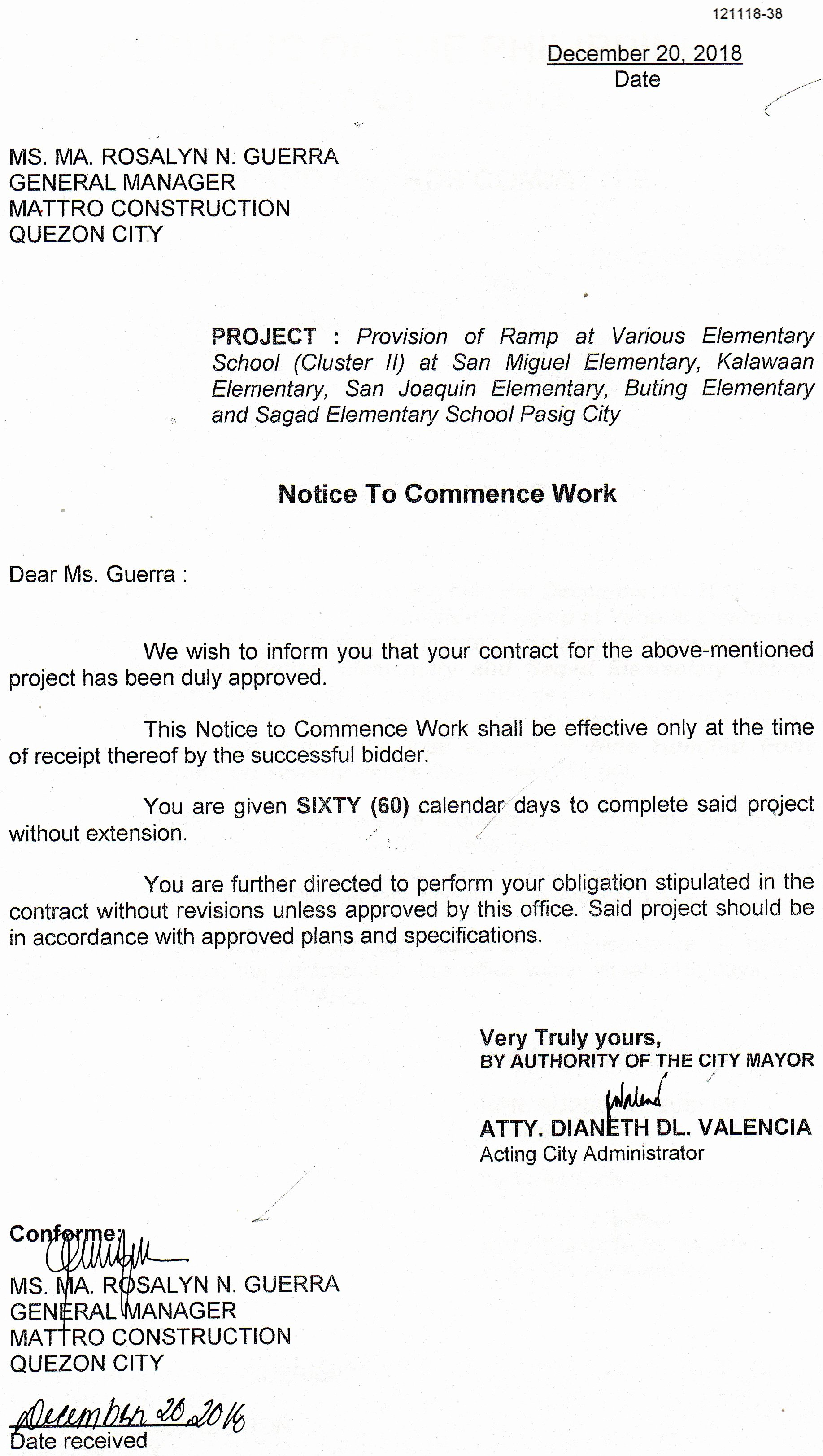 Notice to Proceed Construction Awesome Pasig City