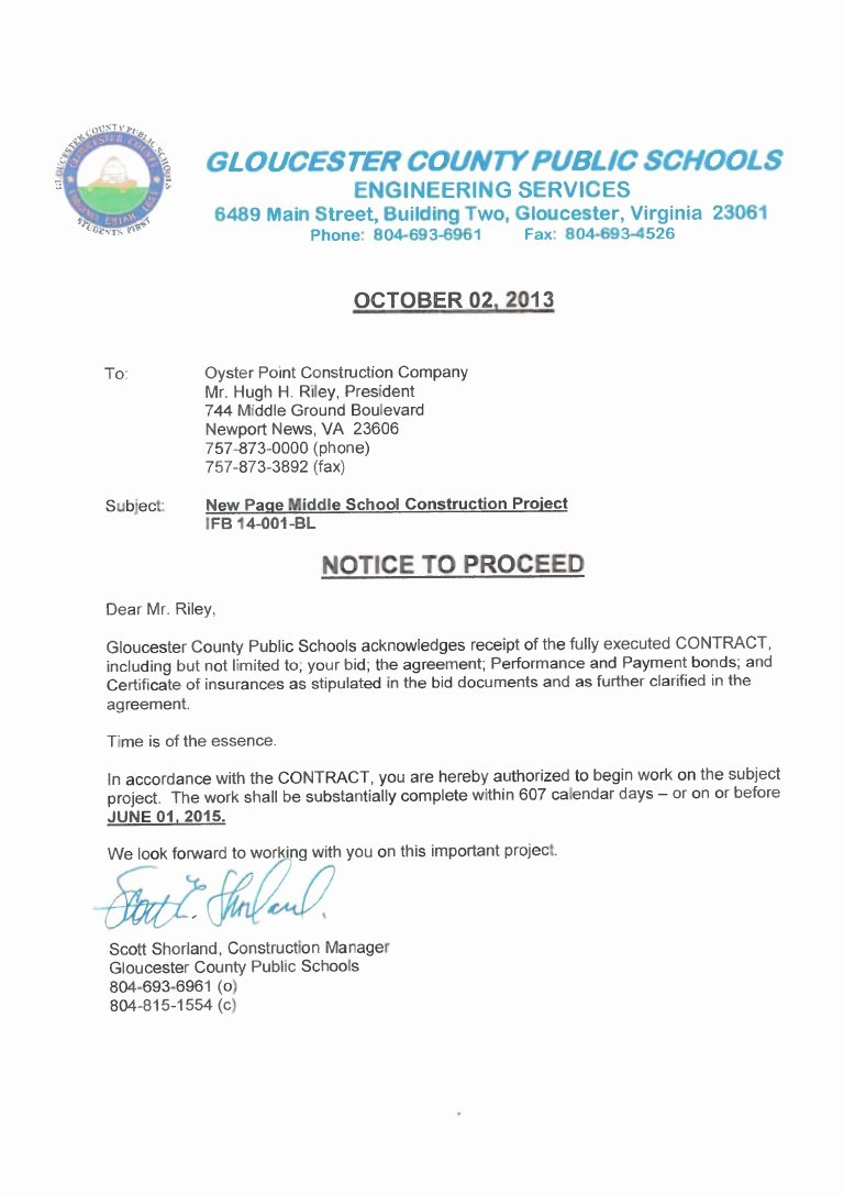 Notice to Proceed Construction Beautiful Page Notice to Proceed Letter Of Intent